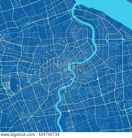 Detailed Map Of Shanghai City Administrative Area. Royalty Free Vector Illustration. Cityscape Panor