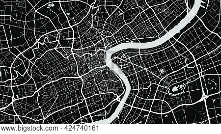 Black And White Grey Shanghai City Area Vector Background Map, Streets And Water Cartography Illustr