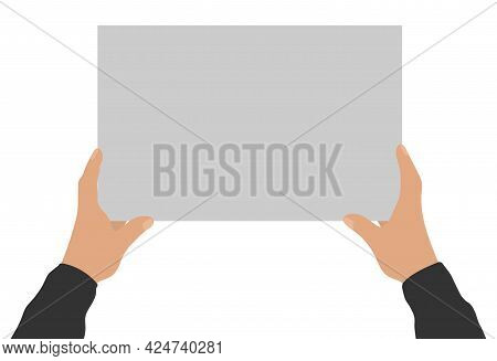 Two Male Hands Holding Empty Banner, Copy Space For Text. Vector Illustration
