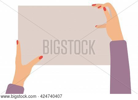 Two Female Hands Holding Empty Banner, Copy Space For Text. Vector Illustration