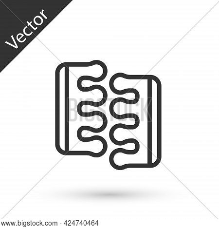 Grey Line Toe Separator For Pedicure Icon Isolated On White Background. Vector