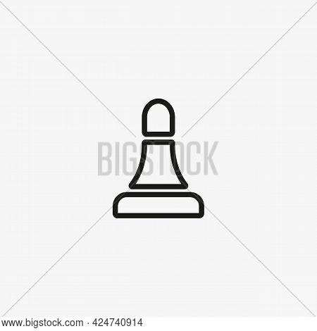 Chess Bishop Figure. Line Icon Illustration. Vector