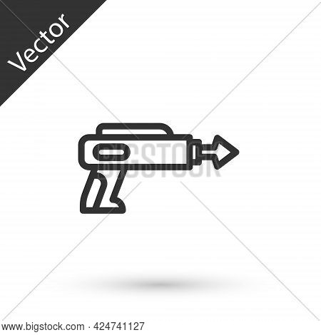 Grey Line Fishing Harpoon Icon Isolated On White Background. Fishery Manufacturers For Catching Fish