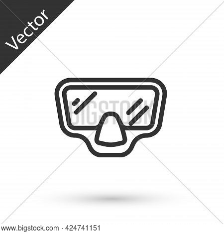 Grey Line Diving Mask Icon Isolated On White Background. Extreme Sport. Diving Underwater Equipment.