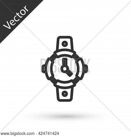 Grey Line Diving Watch Icon Isolated On White Background. Diving Underwater Equipment. Vector