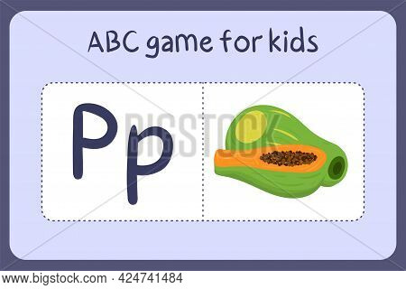 Kid Alphabet Mini Games In Cartoon Style With Letter P - Papaya . Vector Illustration For Game Desig