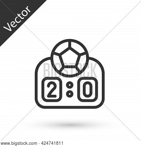 Grey Line Sport Mechanical Scoreboard And Result Display Icon Isolated On White Background. Vector