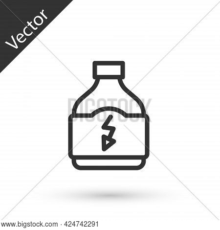 Grey Line Sports Nutrition Bodybuilding Proteine Power Drink And Food Icon Isolated On White Backgro