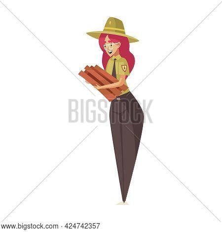 Cartoon Smiling Female Forest Ranger Holding Fire Wood Vector Illustration