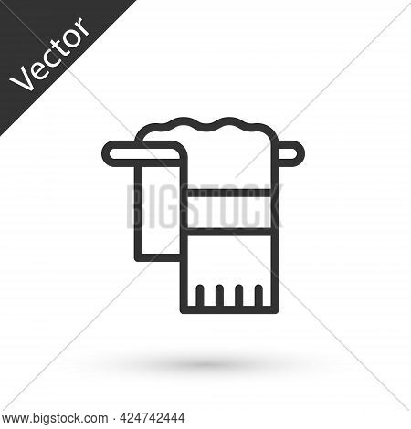 Grey Line Towel On Hanger Icon Isolated On White Background. Bathroom Towel Icon. Vector
