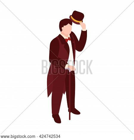 Victorian Era English Fashion Icon With Isometric Male Character With Hat And Cane 3d Vector Illustr