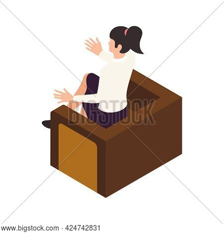 Female Psychotherapist On Session Isometric Icon 3d Vector Illustration