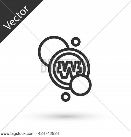 Grey Line South Korean Won Coin Icon Isolated On White Background. South Korea Currency Business, Pa