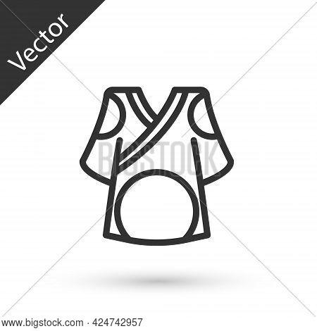 Grey Line Kimono Icon Isolated On White Background. Chinese, Japanese, Korean, Vietnamese Wearing Na