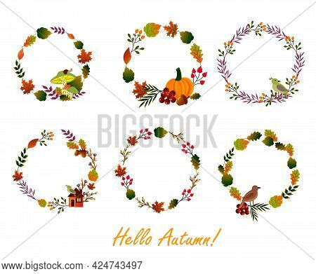 Set Of Round Wreaths Of Autumn Leaves. Autumn Attributes - Colorful Leaves, Pumpkin, Birds, Berries