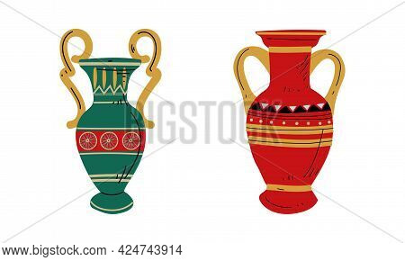 Egyptian Clay Vase With Old Ornament Vector Set