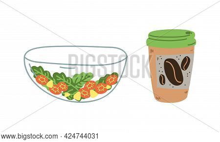 Zero Waste With Coffee Cup And Glass Salad Bowl As Everyday Reused Object Vector Set