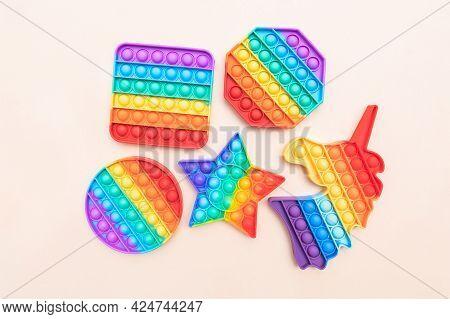 Rainbow Push Pop It Bubble Sensory Fidget Toys Of Different Shapes, Sensory Silicone Toys For Autism