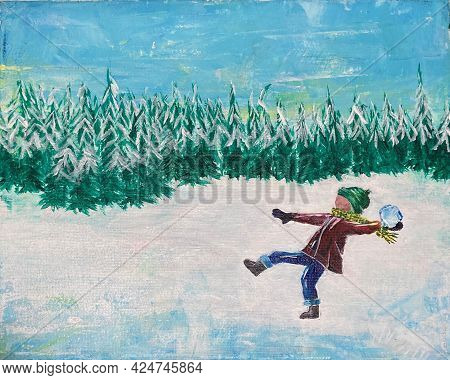 Acrylic Painting On Canvas Of Child Throwing A Snowball