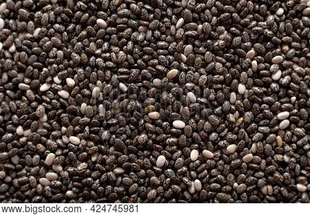 Chia Seeds. Chia Seeds In Close-up. Slimming , Health Care Product