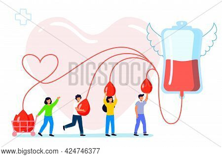 Blood Donation Vector Illustration Transfusion Charity Emergency Donor Aid Patient Support Blood Don
