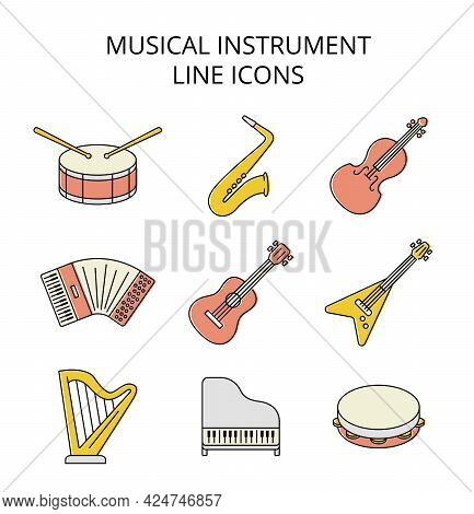 Musical Instruments. Set Of Colored Vector Icons In Flat Style