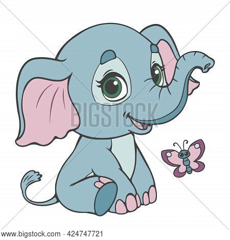 Baby Elephant Cute Cartoon. Vector Illustration With Baby Elephant And Butterfly In Pastel Blue Shad