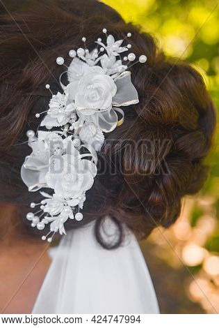 Wedding Hairstyle Bride Brunette With White Roses Decoration, Close-up.