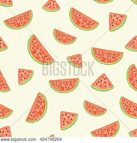 Seamless Summer Background With Fresh Watermelon. Ripe Watermelon On Pink Background. Illustration C