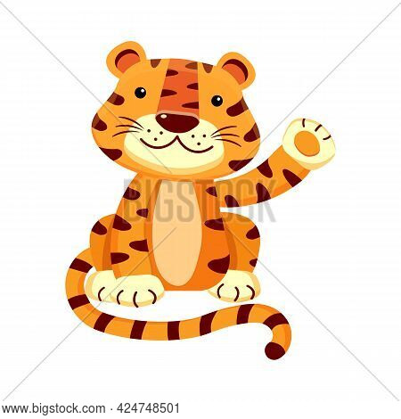 Cute Tiger Cub Waving Paw, Greets Smiling, Isolated On White.