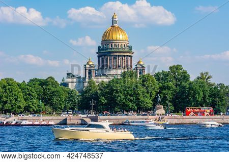 Saint Petersburg, Russia - June 2021: St. Isaac's Cathedral And Neva River