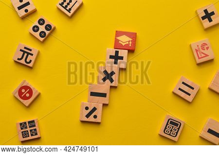 Red Graduation Cap With Math Symbols Isolated On Yellow Background. I Love Math Concept.