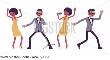 Musician, Jazz, Rock And Roll Performers Man, Woman Dancing, Singing. Blues Band Or Pop Music Artist