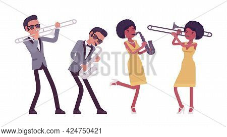 Musician, Rock And Roll Performers Man, Woman Playing Saxophone, Trombone. Blues Band, Pop Music Art
