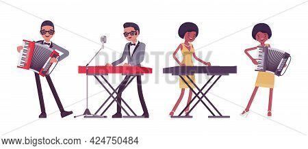 Musician, Rock And Roll Performers, Man, Woman Playing Accordion, Synthesizer. Blues Band Or Pop Mus