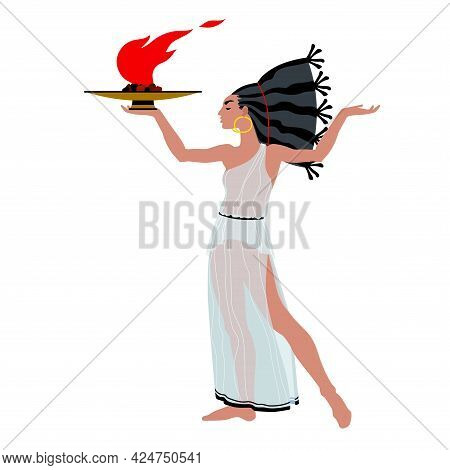 A Beautiful Woman In An Ancient Greek Tunic Carries A Burning Bronze Lamp. A Dancing Priestess With