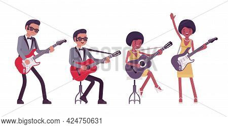 Musician, Rock And Roll Performers Man, Woman Playing Electric Guitar. Blues Band Or Pop Music Artis