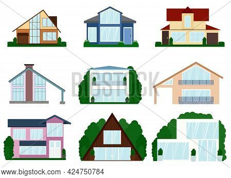 Vector Illustration Of A Set Of Different Modern Two Floors Houses. All Houses In A Different Style
