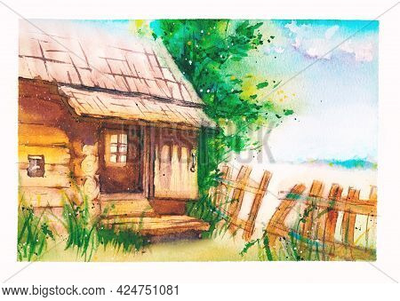 An Old Abandoned Rural House With An Open Door, A Log House, A Fallen Fence, A Field And A Forest In