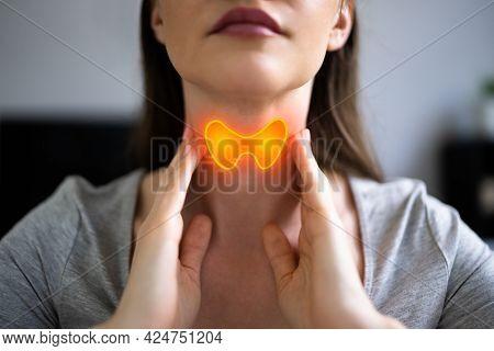 Thyroid Gland Salivary Disease. Woman With Sore Throat