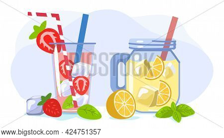 Refreshing Drink With Ice Orange And Strawberry Summer Vector Illustration Hot Season Elements Conce