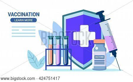 Vaccination Bacteria Outbreak Immunity Vector Illustration Healthcare Industry As Prescription Preve