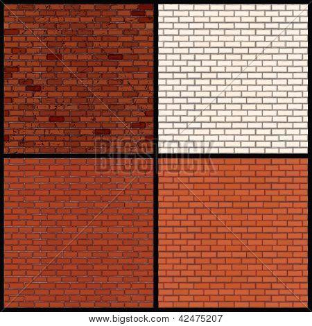 Set of Seamless Patterns of Brick Walls. Old Grunge Wall, White Brick Wall and Classic Orange Brick Wall. Vector Clip Art