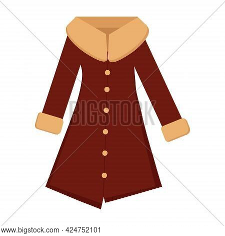 Coat With A Collar On A White Background For Use In Web Design Or Clipart