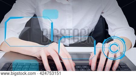 Multiple round scanners against mid section of woman using computer against black background. global business and technology concept