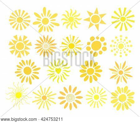 Simple Suns Set Vector Flat Illustration, Cute Summer Image For Making Cards, Decor, Vacation Concep