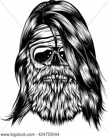 Human Skull With Beard Vector Illustration Design