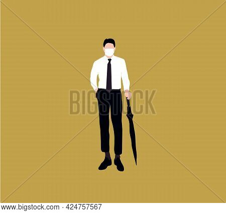 Businessman Waring Mask Stand With An Umbrella In Minimal Style. Cartoon People Vector Illustration