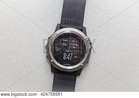 Labuan,malaysia-june 19,2019:close Up Garmin Fenix 3 Sports Wristwatch.it Is A Smart Multi Sport Tra