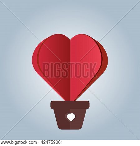 Valentine's Day Greeting Card. Red Heart Ballon Paper Cut Design On Light Blue Background.  Love And